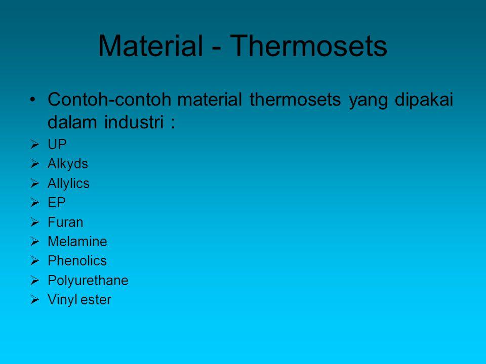 Material - Thermosets Contoh-contoh material thermosets yang dipakai dalam industri : UP. Alkyds.