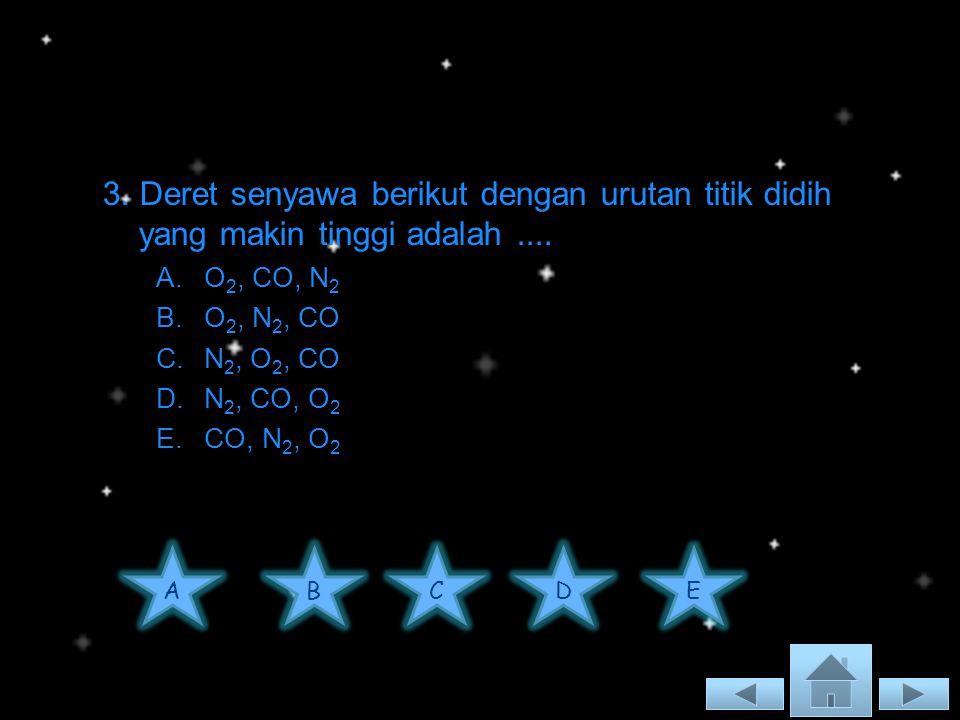 3. Deret senyawa berikut dengan urutan titik didih yang makin tinggi adalah ....