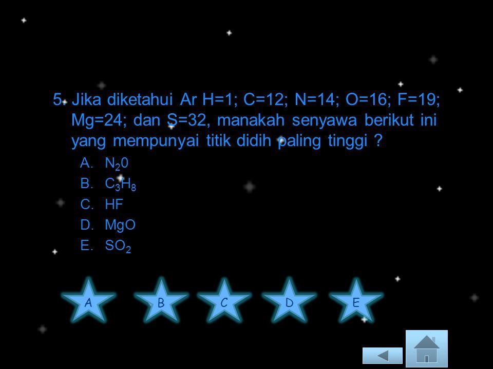 5. Jika diketahui Ar H=1; C=12; N=14; O=16; F=19; Mg=24; dan S=32, manakah senyawa berikut ini yang mempunyai titik didih paling tinggi
