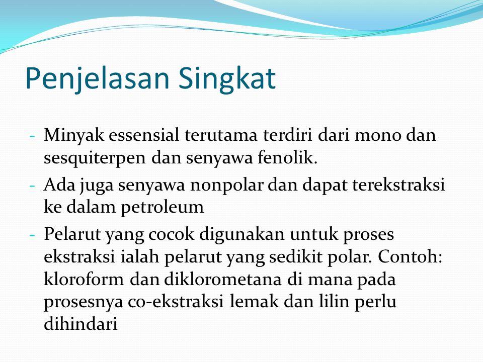 Penjelasan Singkat Minyak essensial terutama terdiri dari mono dan sesquiterpen dan senyawa fenolik.