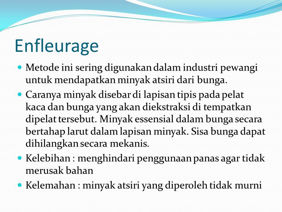 Enfleurage Metode ini sering digunakan dalam industri pewangi untuk mendapatkan minyak atsiri dari bunga.