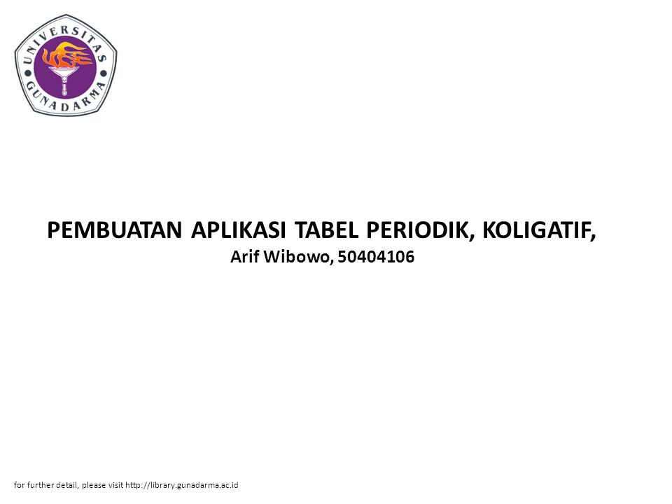 PEMBUATAN APLIKASI TABEL PERIODIK, KOLIGATIF, Arif Wibowo, 50404106