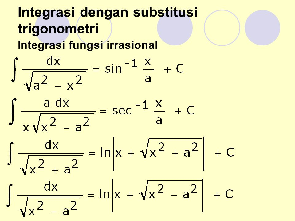 Integrasi dengan substitusi trigonometri