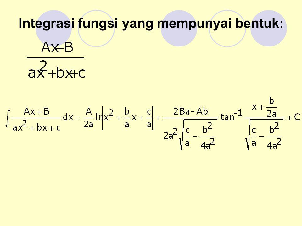 Integrasi fungsi yang mempunyai bentuk: