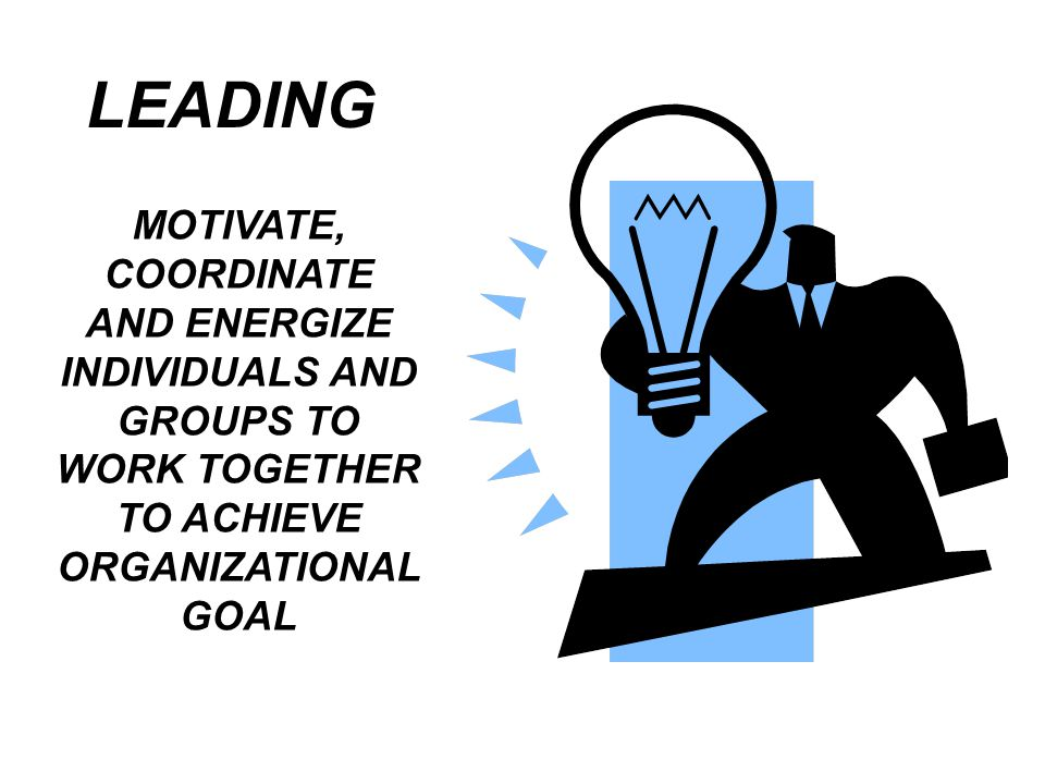 LEADING MOTIVATE, COORDINATE AND ENERGIZE INDIVIDUALS AND GROUPS TO WORK TOGETHER TO ACHIEVE ORGANIZATIONAL GOAL.