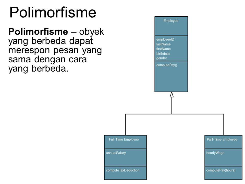 Polimorfisme Polimorfisme – obyek yang berbeda dapat merespon pesan yang sama dengan cara yang berbeda.
