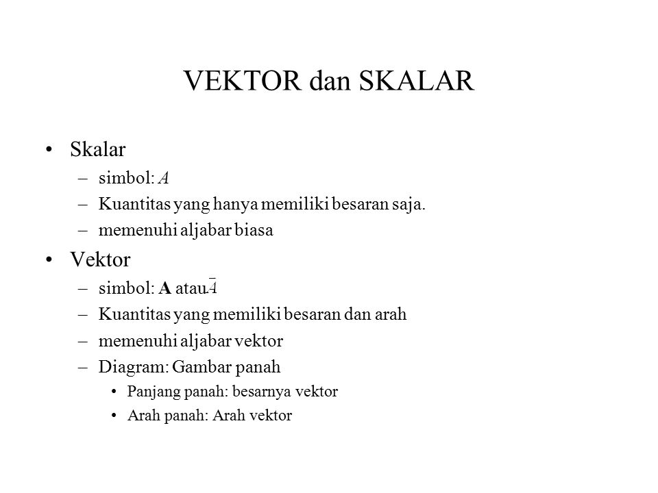 VEKTOR dan SKALAR Skalar Vektor simbol: A