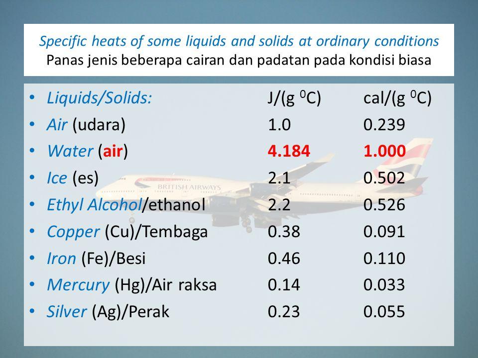 Liquids/Solids: J/(g 0C) cal/(g 0C) Air (udara) 1.0 0.239