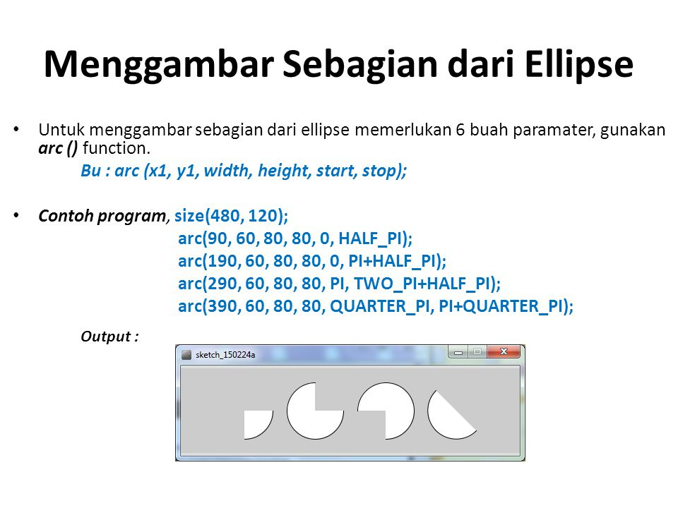 Menggambar Sebagian dari Ellipse