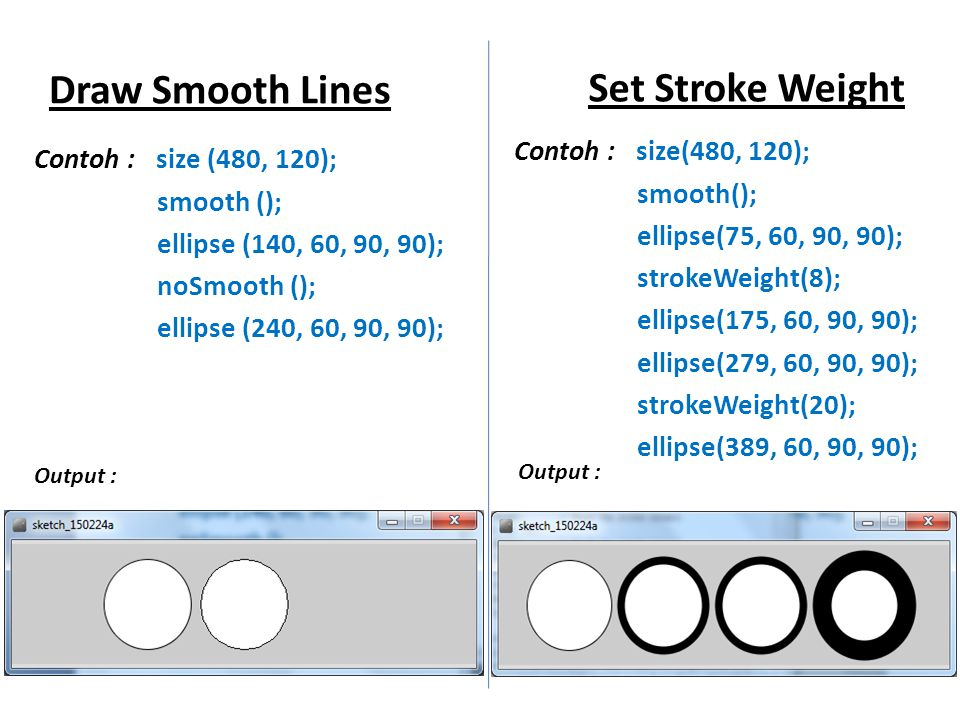 Draw Smooth Lines Set Stroke Weight