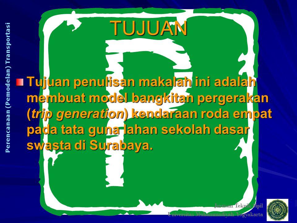 TUJUAN Jurusan Teknik Sipil. Universitas Muhammadiyah Yogyakarta. Perencanaan (Pemodelan) Transportasi.