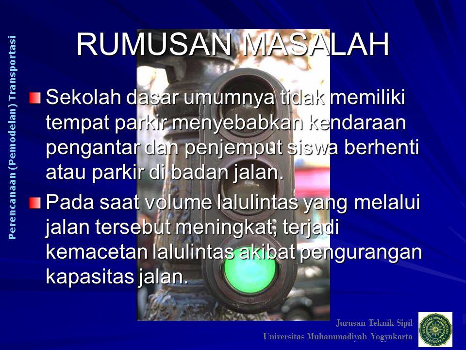 RUMUSAN MASALAH Jurusan Teknik Sipil. Universitas Muhammadiyah Yogyakarta. Perencanaan (Pemodelan) Transportasi.