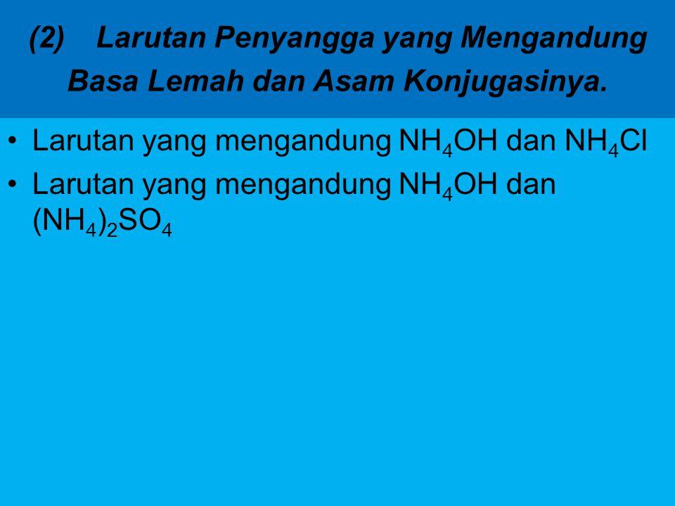 (2) Larutan Penyangga yang Mengandung Basa Lemah dan Asam Konjugasinya.