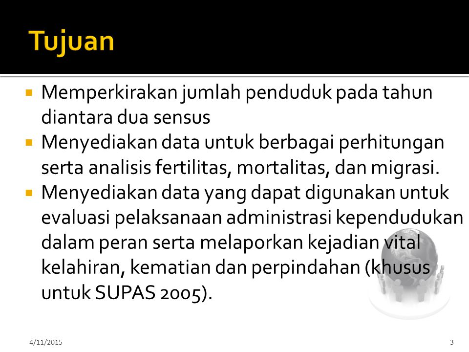 Tujuan Memperkirakan jumlah penduduk pada tahun diantara dua sensus