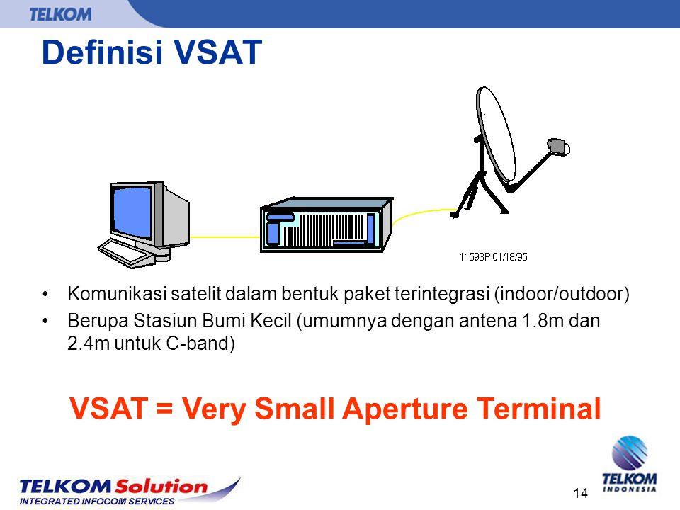 Definisi VSAT VSAT = Very Small Aperture Terminal