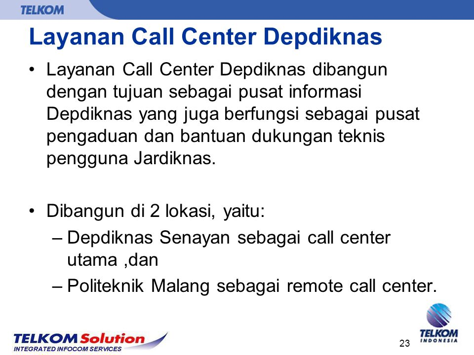 Layanan Call Center Depdiknas