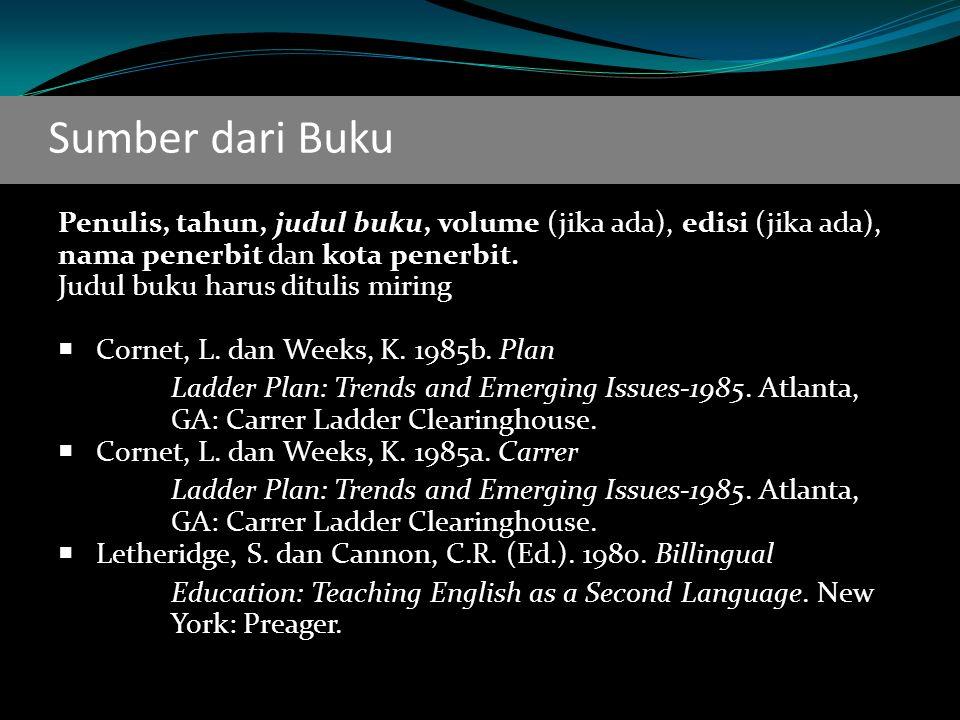 Sumber dari Buku Penulis, tahun, judul buku, volume (jika ada), edisi (jika ada), nama penerbit dan kota penerbit.