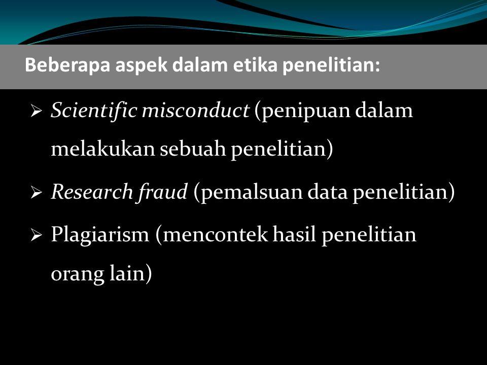 Beberapa aspek dalam etika penelitian: