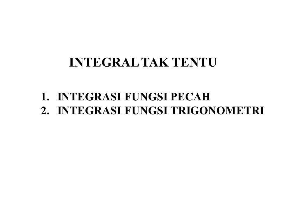 INTEGRAL TAK TENTU INTEGRASI FUNGSI PECAH