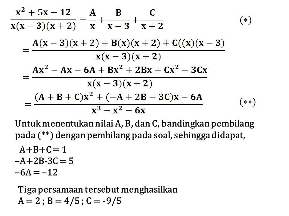 Untuk menentukan nilai A, B, dan C, bandingkan pembilang