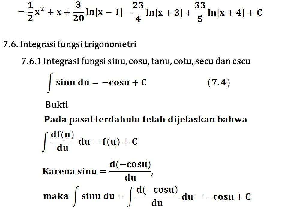 7.6. Integrasi fungsi trigonometri