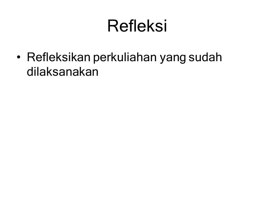 Refleksi Refleksikan perkuliahan yang sudah dilaksanakan