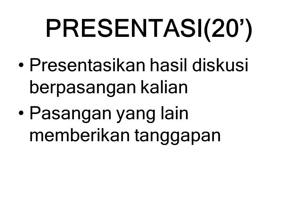 PRESENTASI(20') Presentasikan hasil diskusi berpasangan kalian