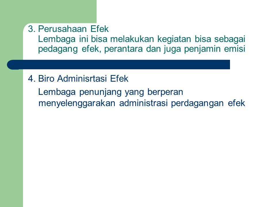 3. Perusahaan Efek Lembaga ini bisa melakukan kegiatan bisa sebagai pedagang efek, perantara dan juga penjamin emisi