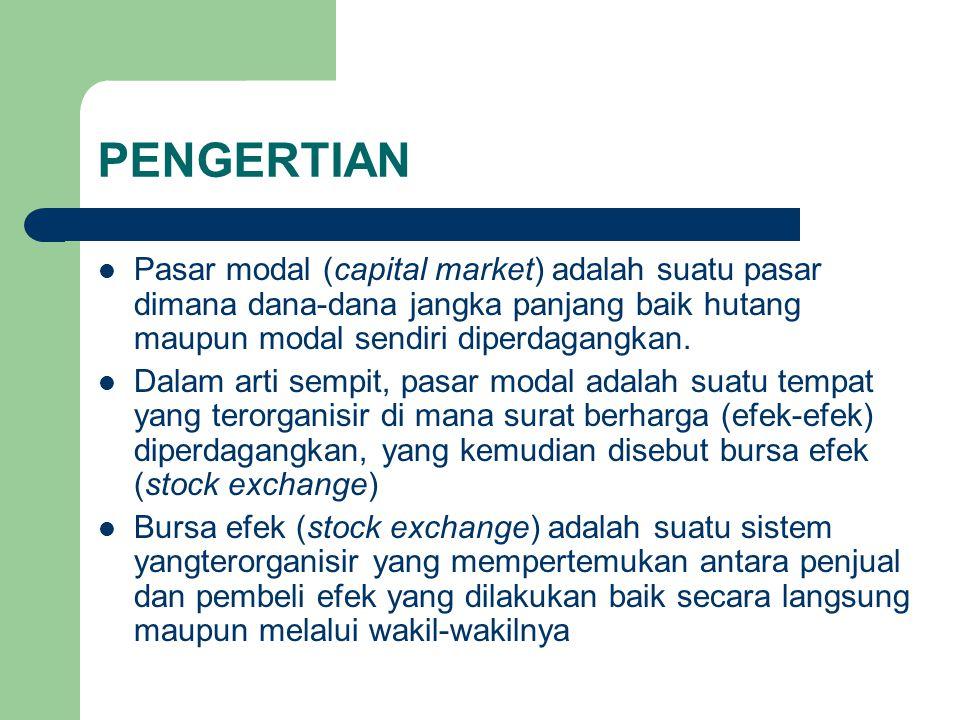 PENGERTIAN Pasar modal (capital market) adalah suatu pasar dimana dana-dana jangka panjang baik hutang maupun modal sendiri diperdagangkan.