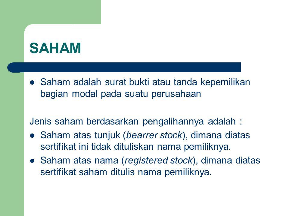 SAHAM Saham adalah surat bukti atau tanda kepemilikan bagian modal pada suatu perusahaan. Jenis saham berdasarkan pengalihannya adalah :