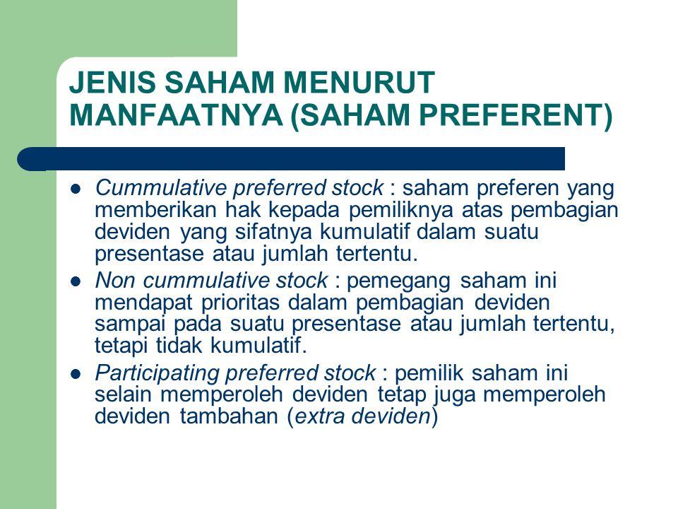 JENIS SAHAM MENURUT MANFAATNYA (SAHAM PREFERENT)