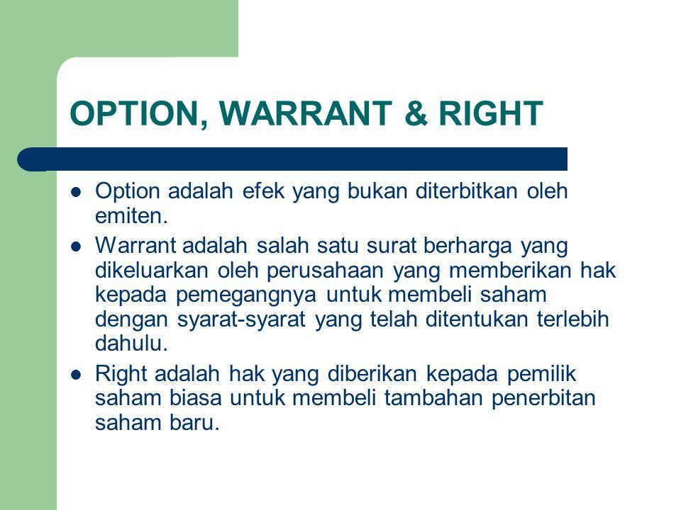 OPTION, WARRANT & RIGHT Option adalah efek yang bukan diterbitkan oleh emiten.