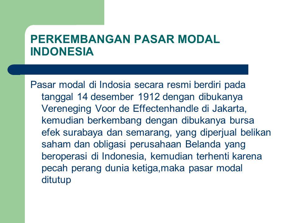 PERKEMBANGAN PASAR MODAL INDONESIA