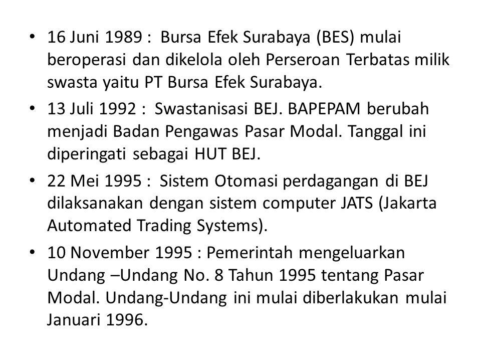 16 Juni 1989 : Bursa Efek Surabaya (BES) mulai beroperasi dan dikelola oleh Perseroan Terbatas milik swasta yaitu PT Bursa Efek Surabaya.