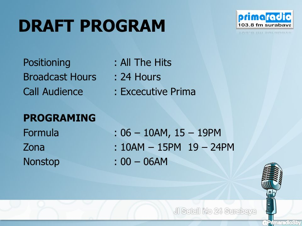 DRAFT PROGRAM Positioning : All The Hits Broadcast Hours : 24 Hours