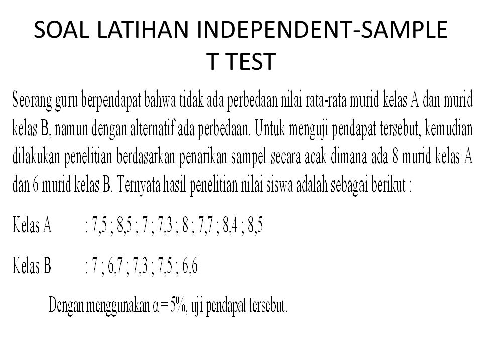 SOAL LATIHAN INDEPENDENT-SAMPLE T TEST