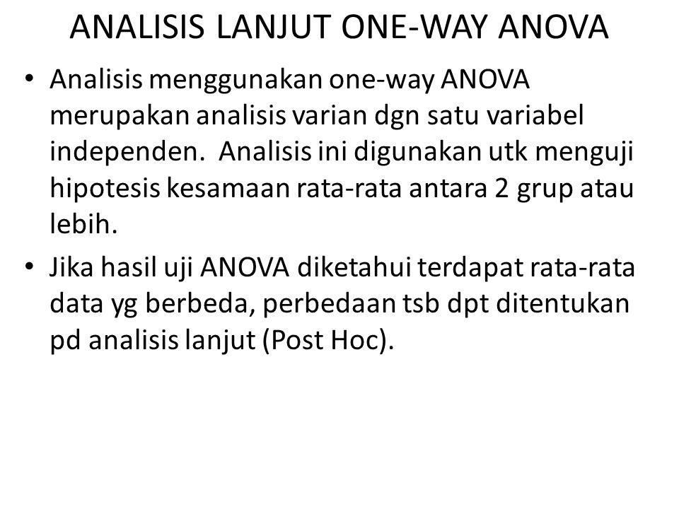 ANALISIS LANJUT ONE-WAY ANOVA
