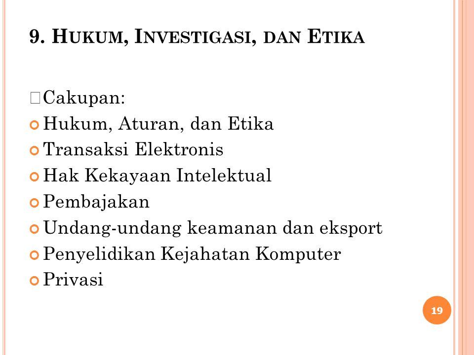 9. Hukum, Investigasi, dan Etika