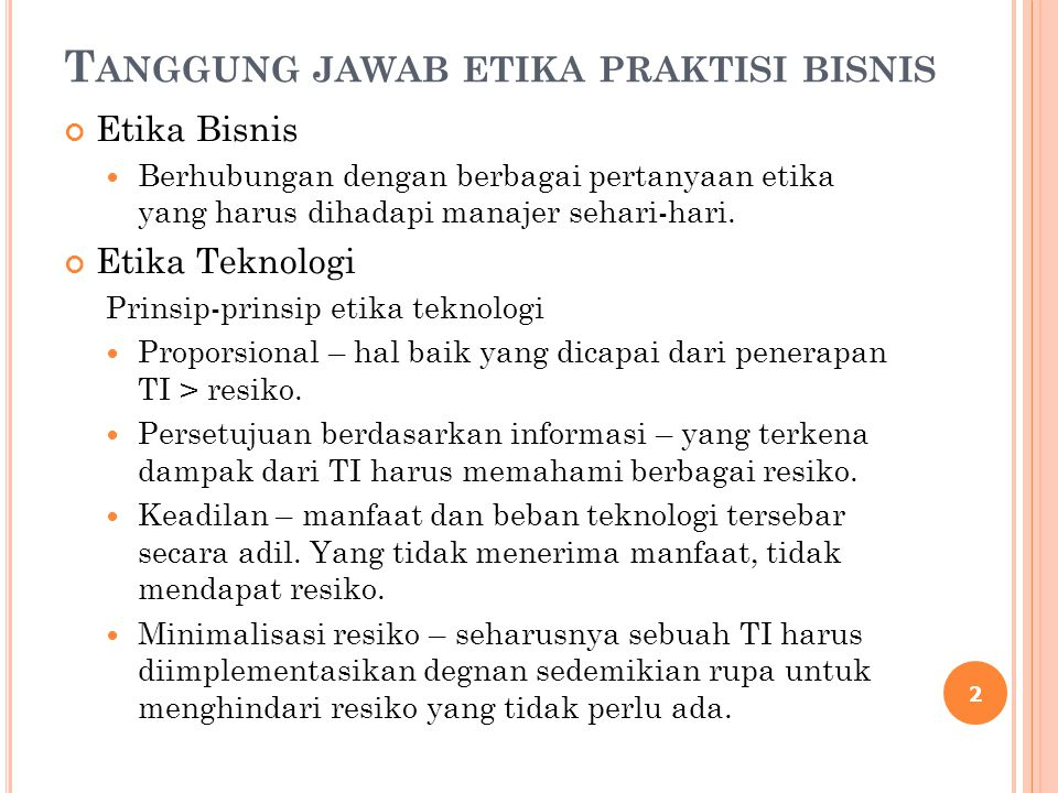 Tanggung jawab etika praktisi bisnis