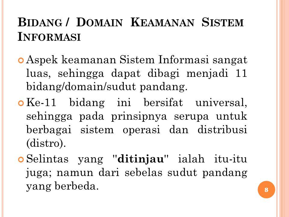 Bidang / Domain Keamanan Sistem Informasi