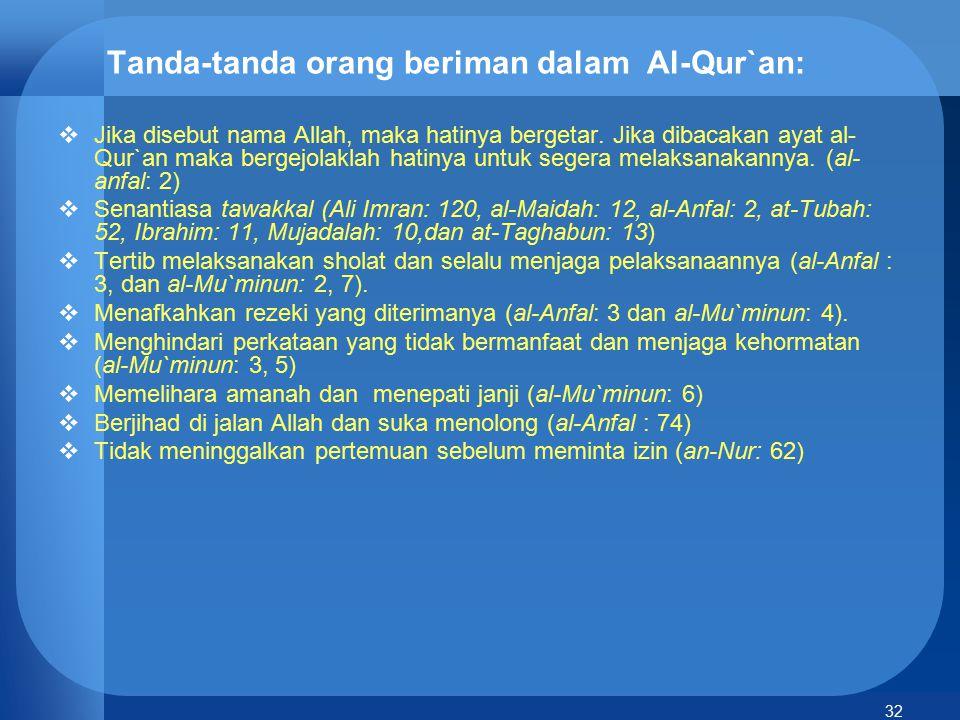 Tanda-tanda orang beriman dalam Al-Qur`an: