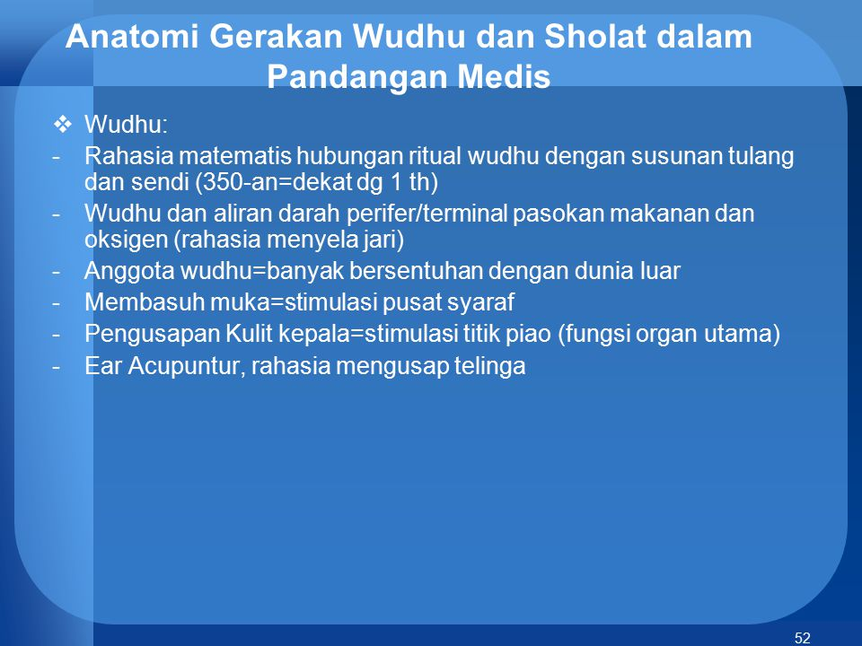 Anatomi Gerakan Wudhu dan Sholat dalam Pandangan Medis