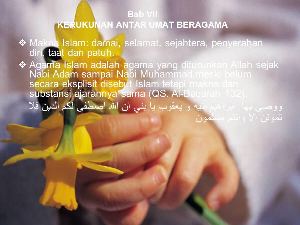 Bab VII KERUKUNAN ANTAR UMAT BERAGAMA