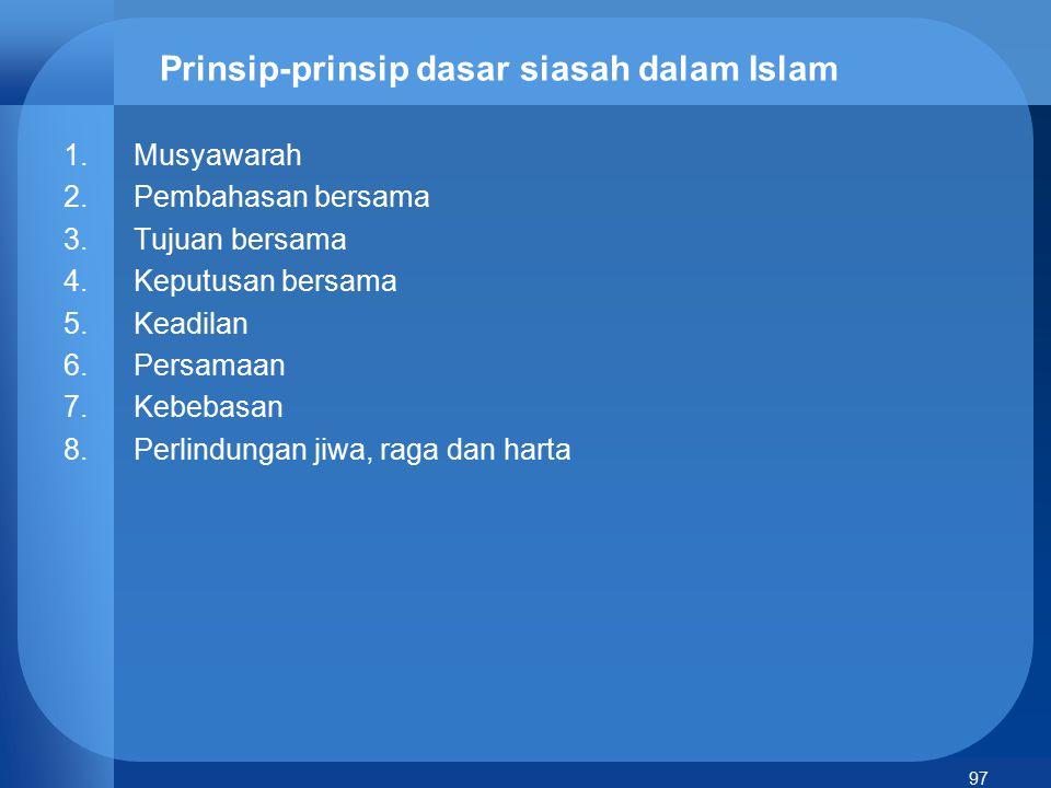 Prinsip-prinsip dasar siasah dalam Islam