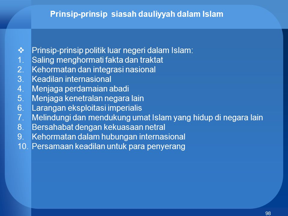 Prinsip-prinsip siasah dauliyyah dalam Islam
