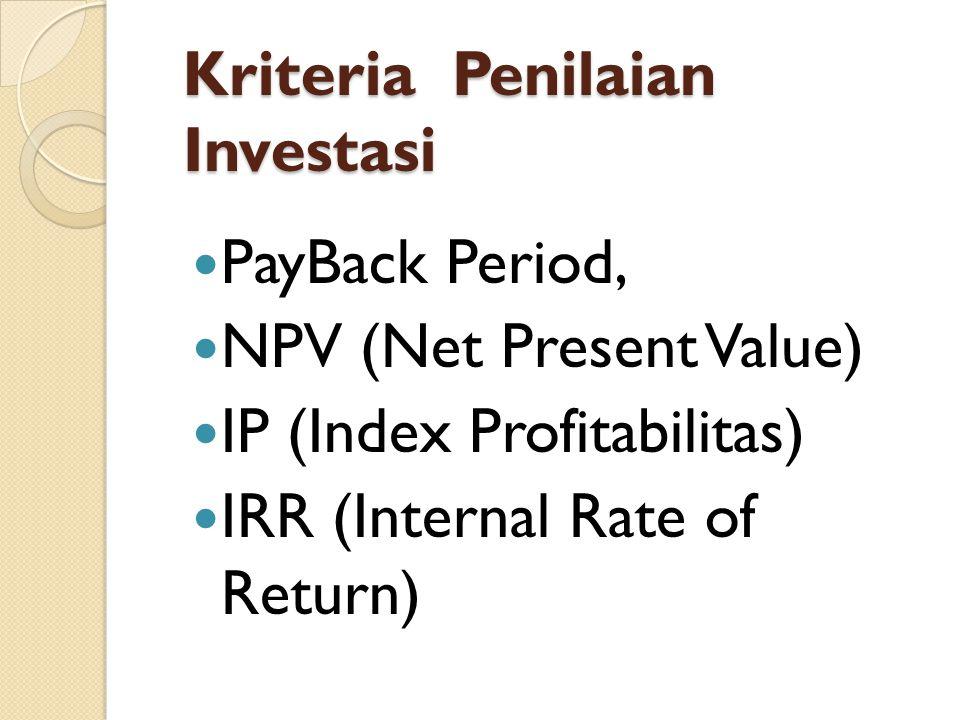 Kriteria Penilaian Investasi