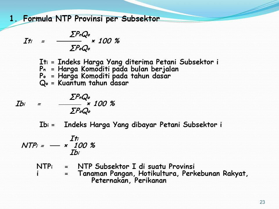 Formula NTP Provinsi per Subsektor