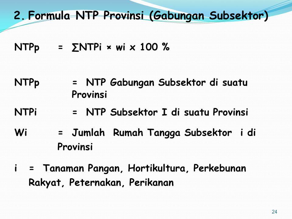 Formula NTP Provinsi (Gabungan Subsektor)