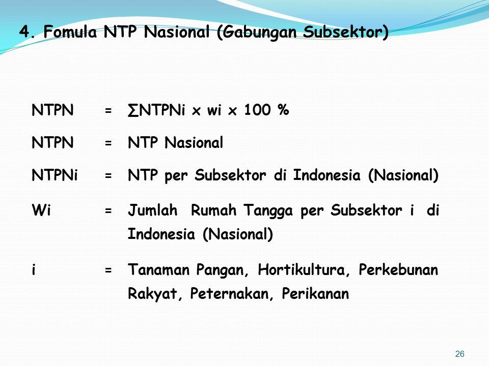 Fomula NTP Nasional (Gabungan Subsektor)