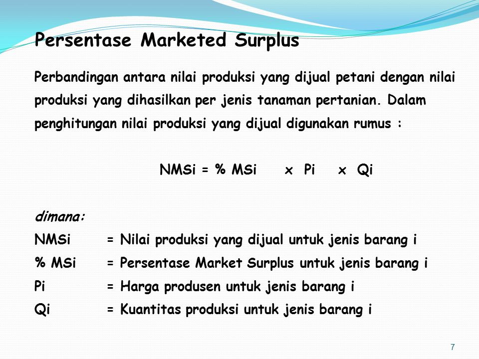 Persentase Marketed Surplus